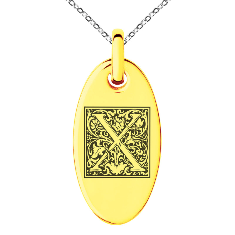 Stainless Steel Letter X Initial Floral Box Monogram Engraved Small Oval Charm Pendant Necklace