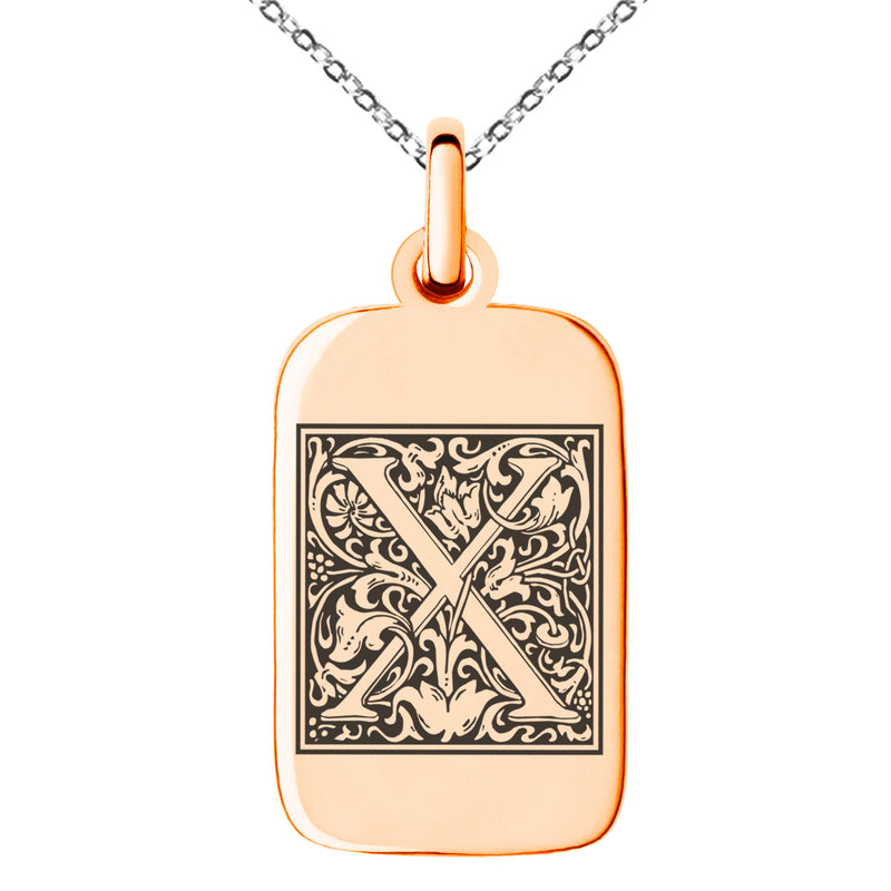 Stainless Steel Letter X Initial Floral Box Monogram Engraved Small Rectangle Dog Tag Charm Pendant Necklace
