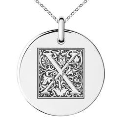 Stainless Steel Letter X Initial Floral Box Monogram Engraved Small Medallion Circle Charm Pendant Necklace