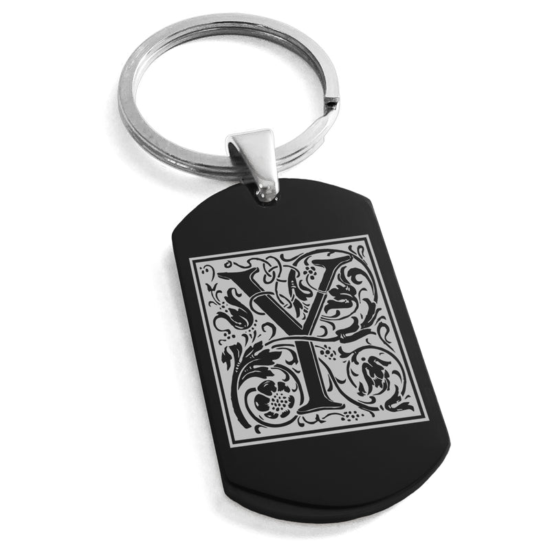 Stainless Steel Letter Y Alphabet Initial Floral Box Monogram Engraved Dog Tag Keychain Keyring - Tioneer