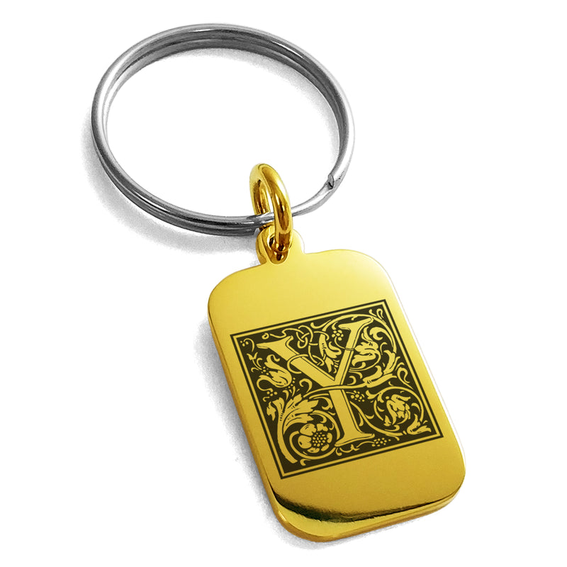 Stainless Steel Letter Y Initial Floral Box Monogram Engraved Small Rectangle Dog Tag Charm Keychain Keyring - Tioneer