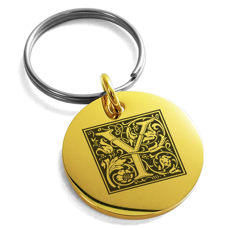 Stainless Steel Letter Y Initial Floral Box Monogram Engraved Small Medallion Circle Charm Keychain Keyring - Tioneer