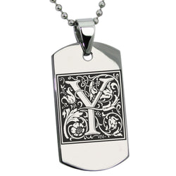 Stainless Steel Letter Y Alphabet Initial Floral Box Monogram Engraved Dog Tag Pendant Necklace - Tioneer