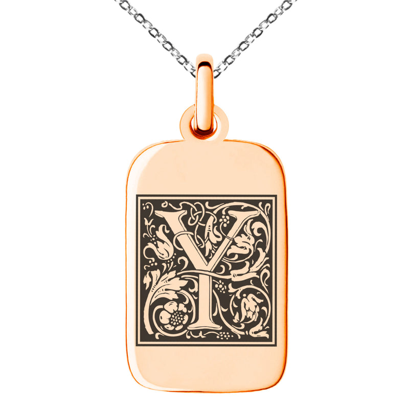 Stainless Steel Letter Y Initial Floral Box Monogram Engraved Small Rectangle Dog Tag Charm Pendant Necklace - Tioneer