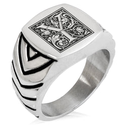 Stainless Steel Letter Y Alphabet Initial Floral Box Monogram Chevron Pattern Biker Style Polished Ring - Tioneer