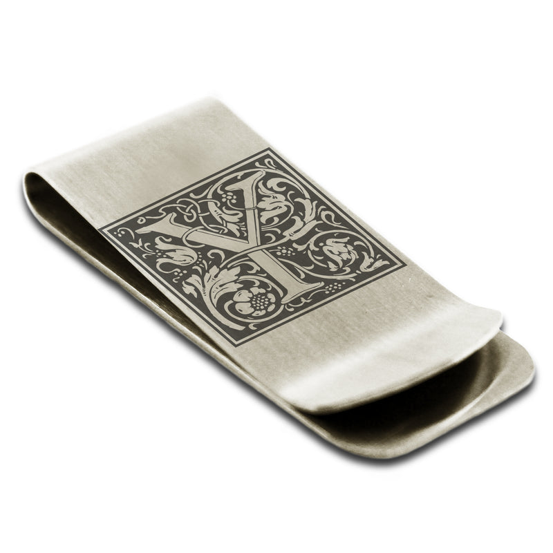 Stainless Steel Letter Y Alphabet Initial Floral Box Monogram Engraved Money Clip Credit Card Holder - Tioneer