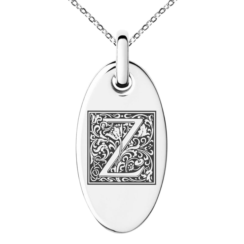 Stainless Steel Letter Z Initial Floral Box Monogram Engraved Small Oval Charm Pendant Necklace - Tioneer