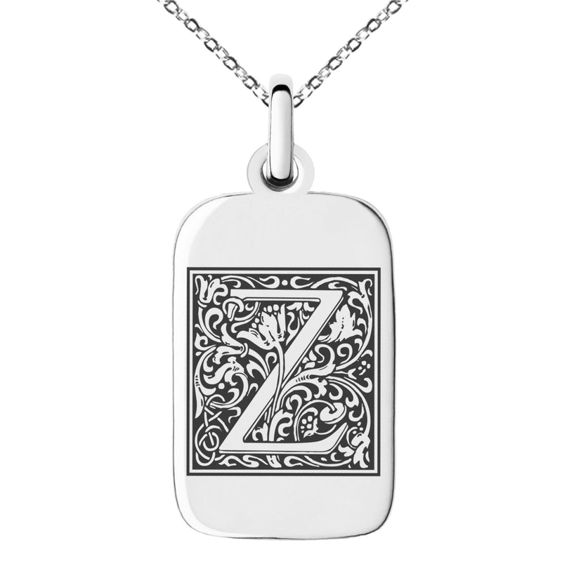 Stainless Steel Letter Z Initial Floral Box Monogram Engraved Small Rectangle Dog Tag Charm Pendant Necklace - Tioneer