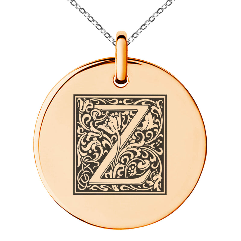 Stainless Steel Letter Z Initial Floral Box Monogram Engraved Small Medallion Circle Charm Pendant Necklace - Tioneer