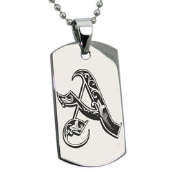 Stainless Steel Letter A Alphabet Initial Royal Monogram Engraved Dog Tag Pendant Necklace - Tioneer