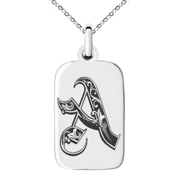 Stainless Steel Letter A Initial Royal Monogram Engraved Small Rectangle Dog Tag Charm Pendant Necklace