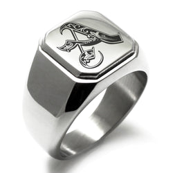 Stainless Steel Letter A Alphabet Initial Royal Monogram Engraved Square Flat Top Biker Style Polished Ring - Tioneer