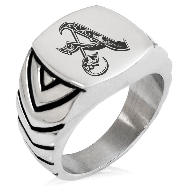 Stainless Steel Letter A Alphabet Initial Royal Monogram Chevron Pattern Biker Style Polished Ring - Tioneer
