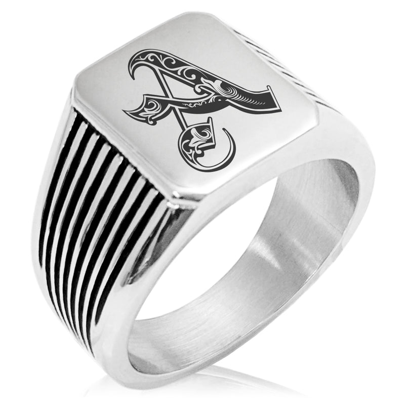 Stainless Steel Letter A Alphabet Initial Royal Monogram Needle Stripe Pattern Biker Style Polished Ring - Tioneer