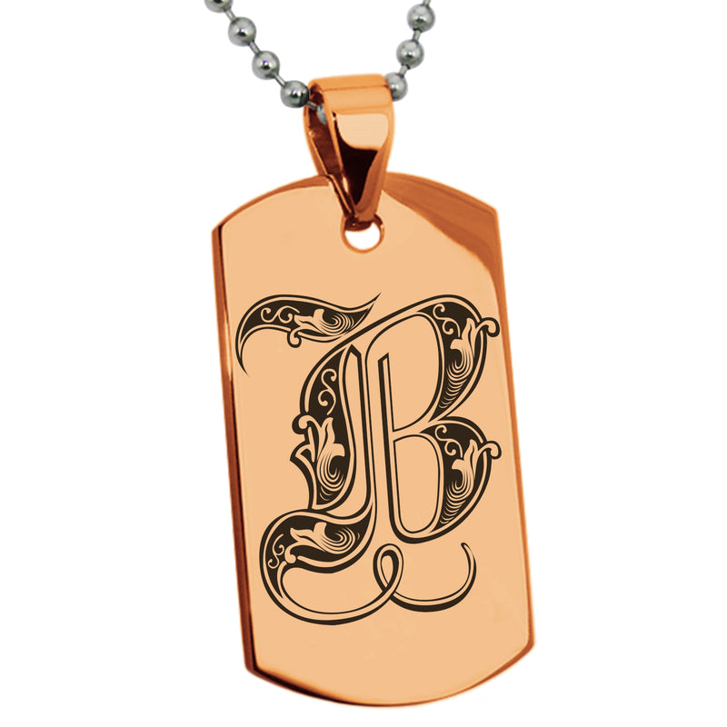 Stainless Steel Letter B Alphabet Initial Royal Monogram Engraved Dog Tag Pendant Necklace - Tioneer