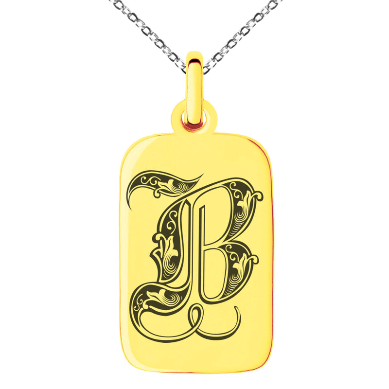 Stainless Steel Letter B Initial Royal Monogram Engraved Small Rectangle Dog Tag Charm Pendant Necklace