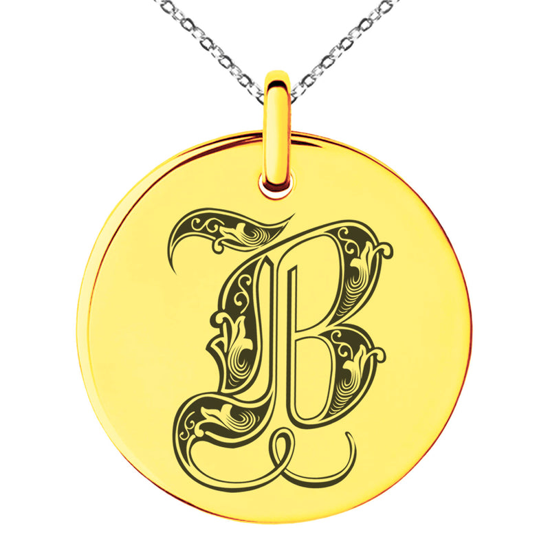 Stainless Steel Letter B Initial Royal Monogram Engraved Small Medallion Circle Charm Pendant Necklace