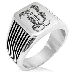 Stainless Steel Letter B Alphabet Initial Royal Monogram Needle Stripe Pattern Biker Style Polished Ring - Tioneer