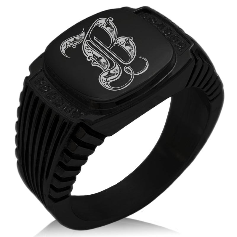 Stainless Steel Letter B Alphabet Initial Royal Monogram CZ Ribbed Needle Stripe Pattern Biker Style Polished Ring - Tioneer