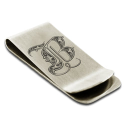 Stainless Steel Letter B Alphabet Initial Royal Monogram Engraved Money Clip Credit Card Holder - Tioneer