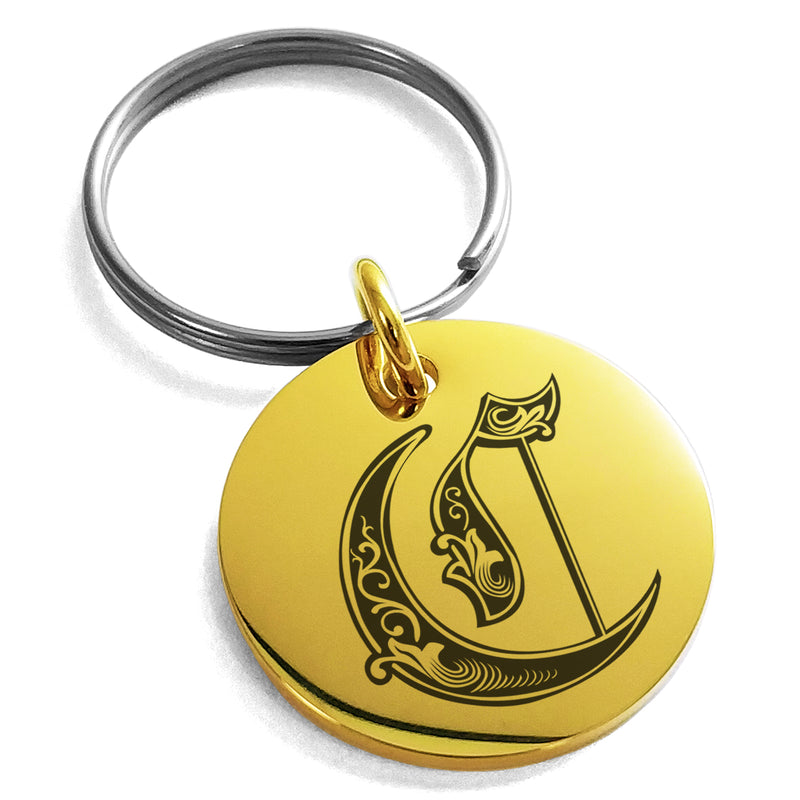 Stainless Steel Letter C Initial Royal Monogram Engraved Small Medallion Circle Charm Keychain Keyring - Tioneer