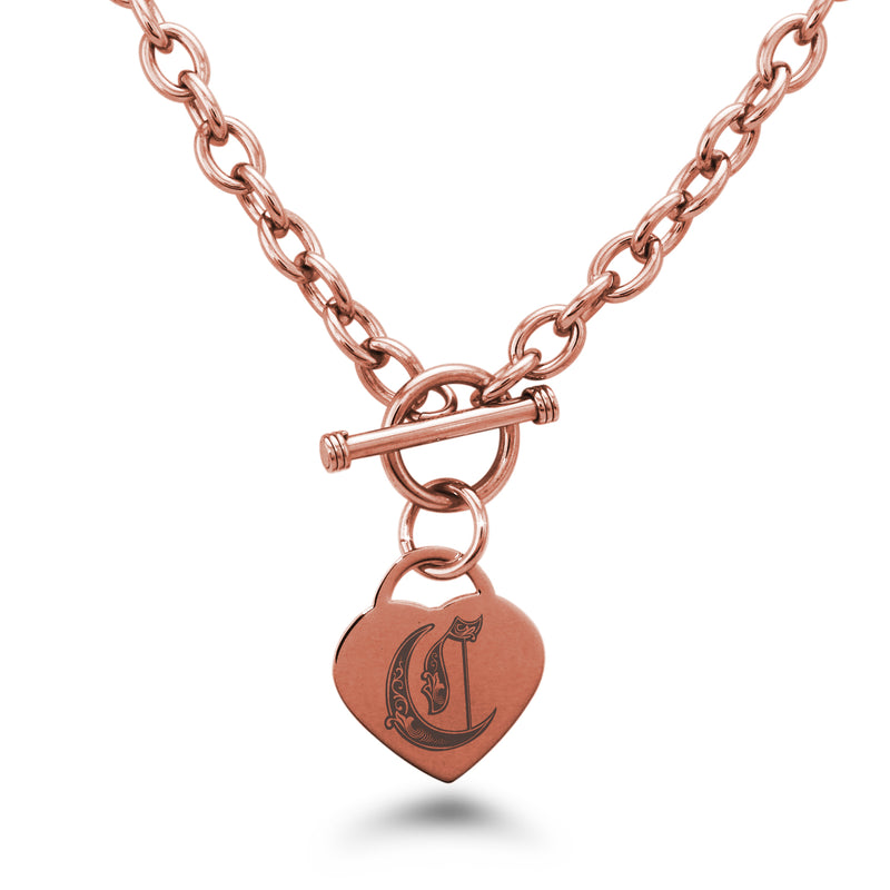 Stainless Steel Letter C Alphabet Initial Royal Monogram Engraved Heart Charm Toggle Link Necklace - Tioneer