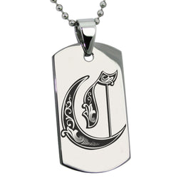 Stainless Steel Letter C Alphabet Initial Royal Monogram Engraved Dog Tag Pendant Necklace - Tioneer