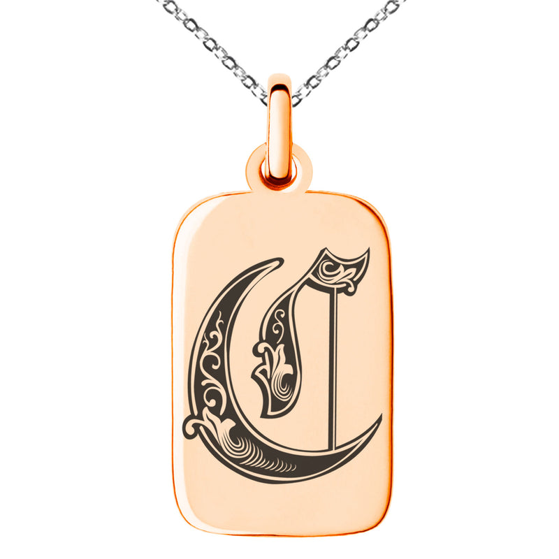 Stainless Steel Letter C Initial Royal Monogram Engraved Small Rectangle Dog Tag Charm Pendant Necklace