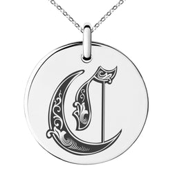 Stainless Steel Letter C Initial Royal Monogram Engraved Small Medallion Circle Charm Pendant Necklace