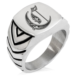 Stainless Steel Letter C Alphabet Initial Royal Monogram Chevron Pattern Biker Style Polished Ring - Tioneer