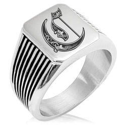 Stainless Steel Letter C Alphabet Initial Royal Monogram Needle Stripe Pattern Biker Style Polished Ring - Tioneer