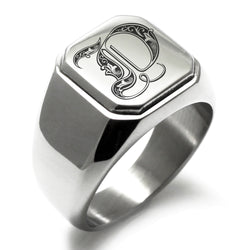 Stainless Steel Letter D Alphabet Initial Royal Monogram Engraved Square Flat Top Biker Style Polished Ring - Tioneer