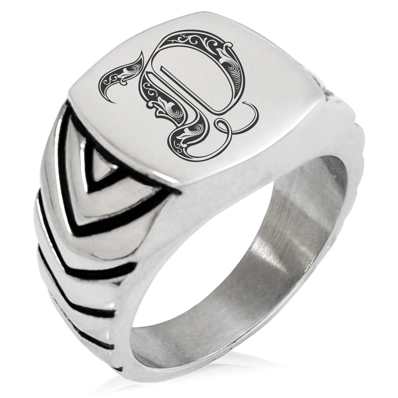 Stainless Steel Letter D Alphabet Initial Royal Monogram Chevron Pattern Biker Style Polished Ring - Tioneer