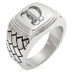 Stainless Steel Letter D Alphabet Initial Royal Monogram Geometric Pattern Step-Down Biker Style Polished Ring - Tioneer