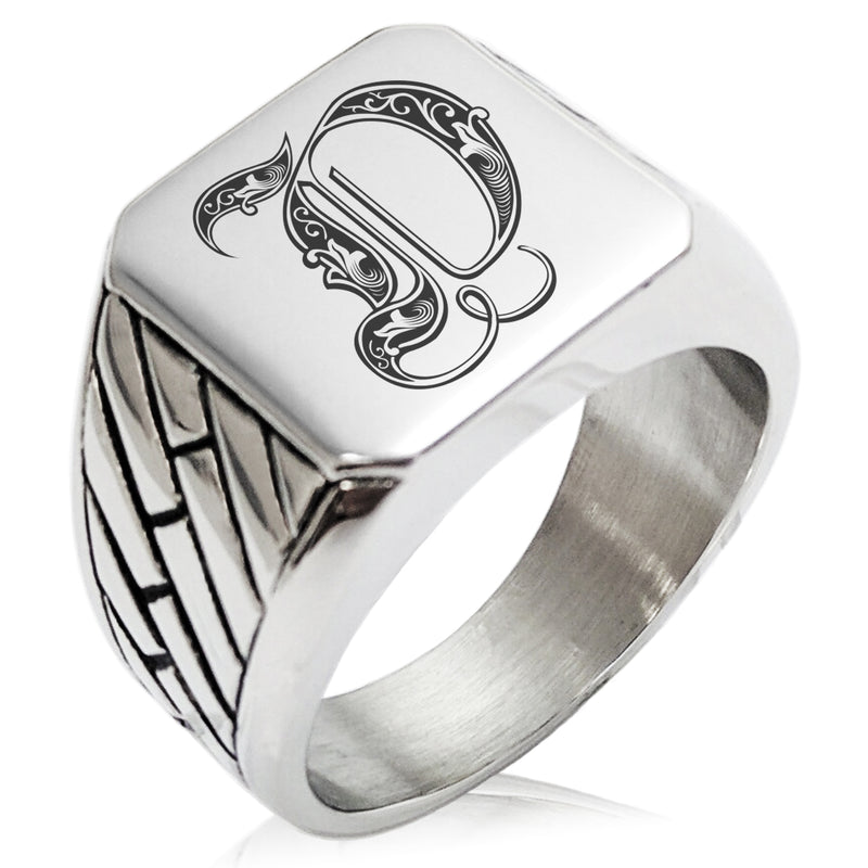 Stainless Steel Letter D Alphabet Initial Royal Monogram Geometric Pattern Biker Style Polished Ring - Tioneer