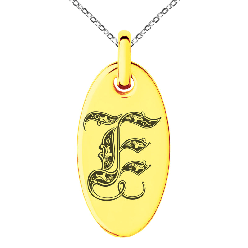 Stainless Steel Letter E Initial Royal Monogram Engraved Small Oval Charm Pendant Necklace