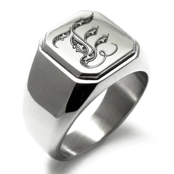 Stainless Steel Letter E Alphabet Initial Royal Monogram Engraved Square Flat Top Biker Style Polished Ring - Tioneer