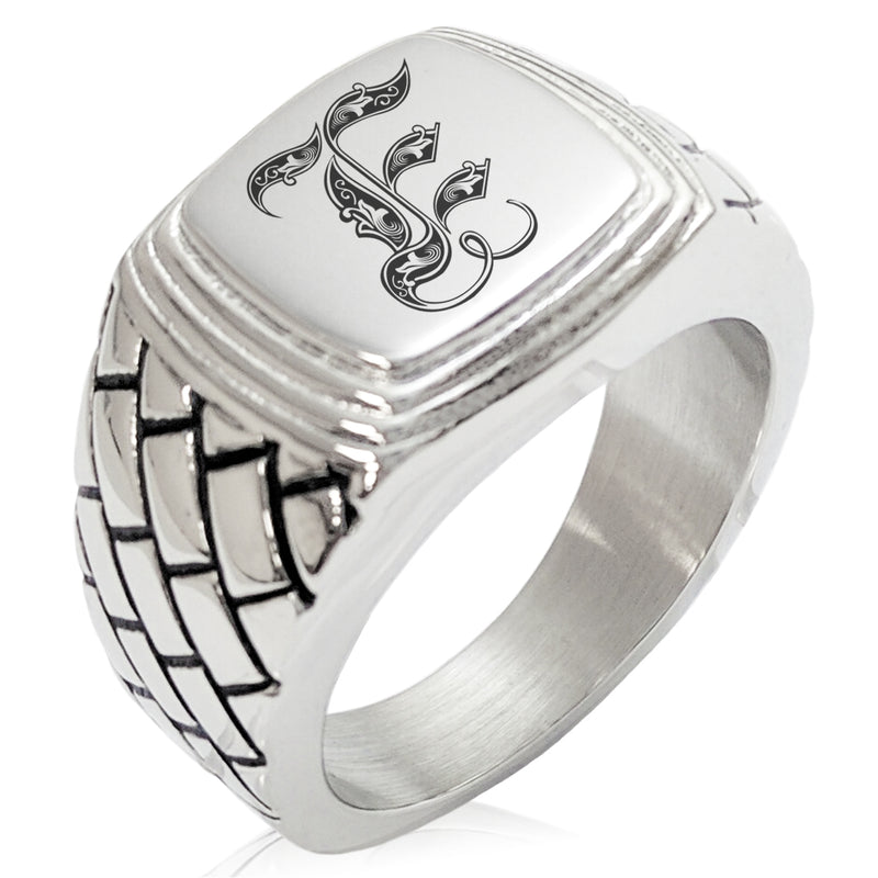 Stainless Steel Letter E Alphabet Initial Royal Monogram Geometric Pattern Step-Down Biker Style Polished Ring - Tioneer