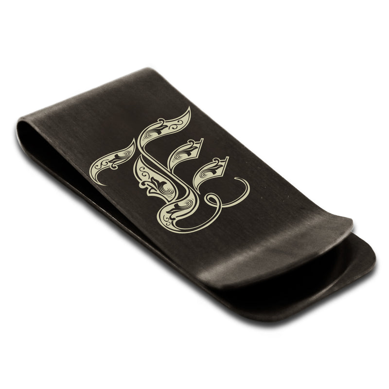 Stainless Steel Letter E Alphabet Initial Royal Monogram Engraved Money Clip Credit Card Holder - Tioneer