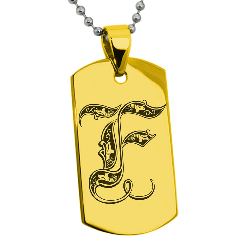 Stainless Steel Letter F Alphabet Initial Royal Monogram Engraved Dog Tag Pendant Necklace - Tioneer