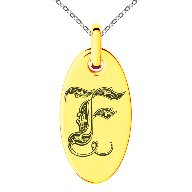 Stainless Steel Letter F Initial Royal Monogram Engraved Small Oval Charm Pendant Necklace