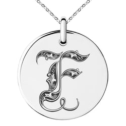 Stainless Steel Letter F Initial Royal Monogram Engraved Small Medallion Circle Charm Pendant Necklace