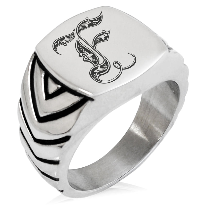 Stainless Steel Letter F Alphabet Initial Royal Monogram Chevron Pattern Biker Style Polished Ring - Tioneer