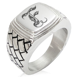 Stainless Steel Letter F Alphabet Initial Royal Monogram Geometric Pattern Step-Down Biker Style Polished Ring - Tioneer