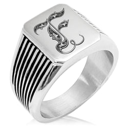 Stainless Steel Letter F Alphabet Initial Royal Monogram Needle Stripe Pattern Biker Style Polished Ring - Tioneer