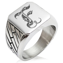 Stainless Steel Letter F Alphabet Initial Royal Monogram Geometric Pattern Biker Style Polished Ring - Tioneer