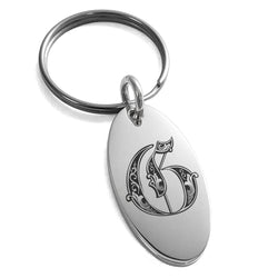 Stainless Steel Letter G Initial Royal Monogram Engraved Small Oval Charm Keychain Keyring - Tioneer