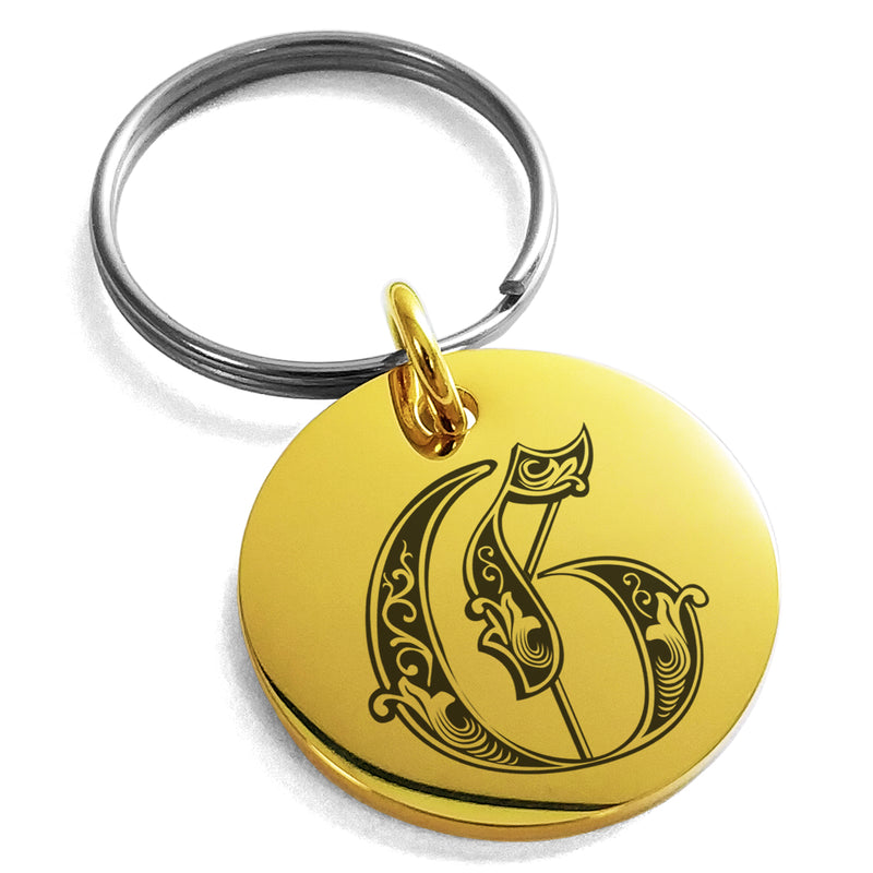 Stainless Steel Letter G Initial Royal Monogram Engraved Small Medallion Circle Charm Keychain Keyring - Tioneer