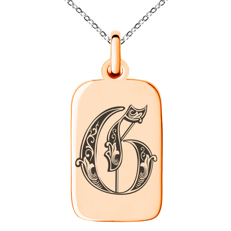 Stainless Steel Letter G Initial Royal Monogram Engraved Small Rectangle Dog Tag Charm Pendant Necklace