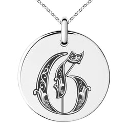 Stainless Steel Letter G Initial Royal Monogram Engraved Small Medallion Circle Charm Pendant Necklace